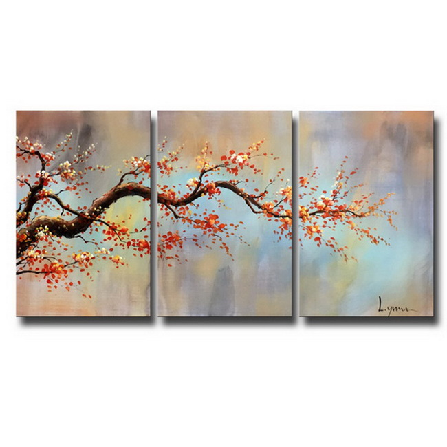 Hand-painted 'Wintersweet' 3-piece Gallery-wrapped Canvas Art Set OF-671-RBU