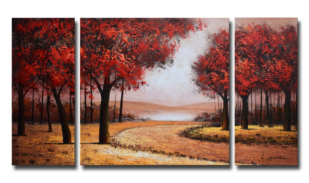 Hand-painted 'Red Autumn Forest' 3-piece Gallery-wrapped Canvas Art Set OF-675-SGO