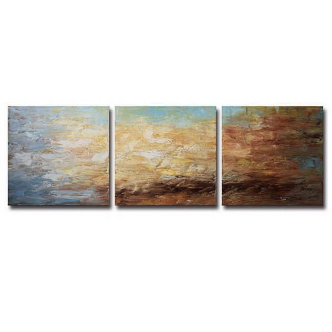 Hand-painted 'Abstract 678' 3-piece Gallery-wrapped Canvas Art Set OF-678-RXA