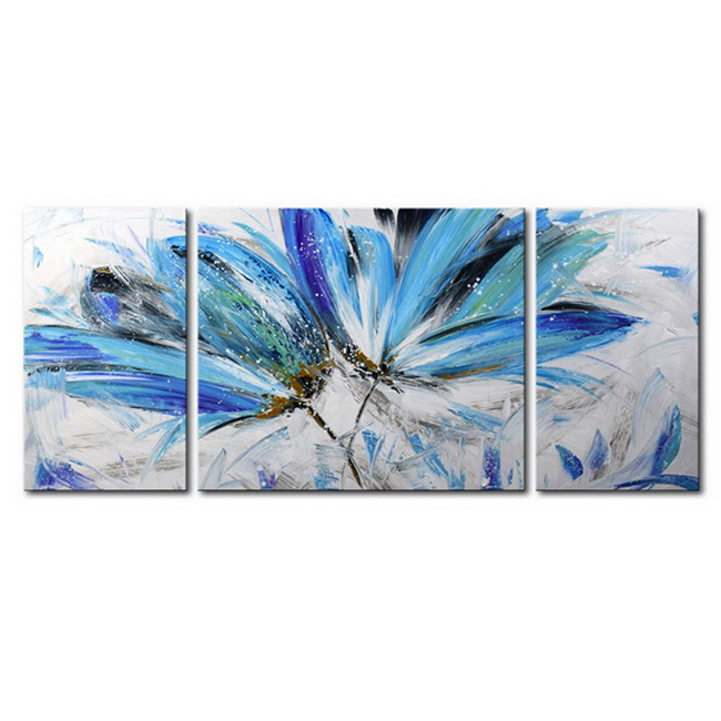 Abstract Flower 679' Hand-painted Gallery-wrapped 3-Piece Canvas Art Set OF-679-YYX