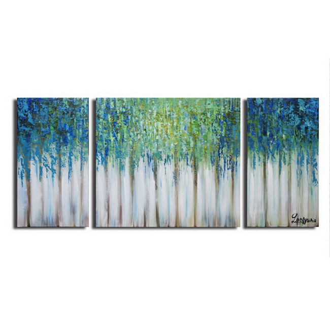 Hand-painted 'Blue Memory' 3-piece Gallery-wrapped Canvas Art Set OF-680-LSL