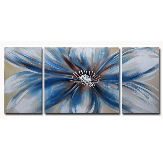 Handpainted 'Abstract Flower 681' 3-piece Multicolored Gallery-wrapped Canvas Art Set OF-681-ALL