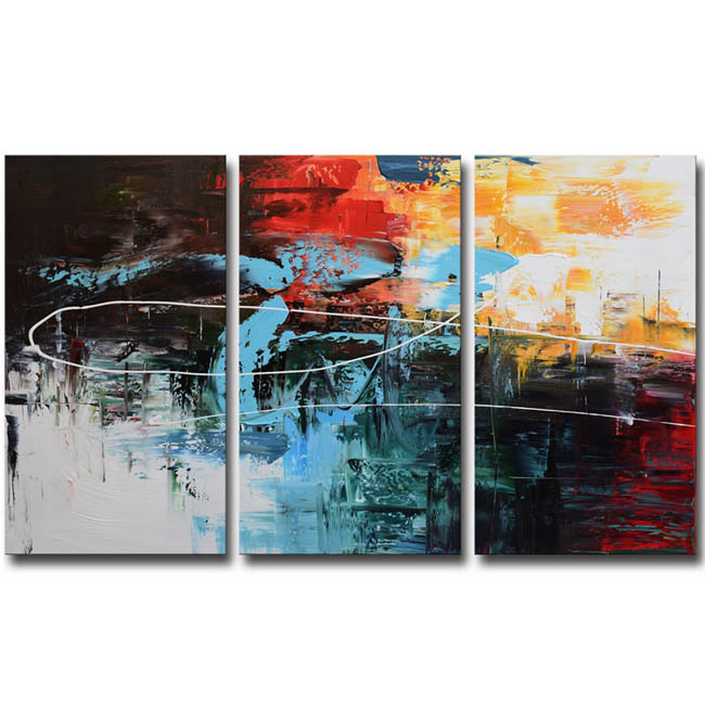 Hand-painted 'Contemporary Color Combination #682' Gallery-wrapped 3-piece Canvas Wall Art OF-682-ART