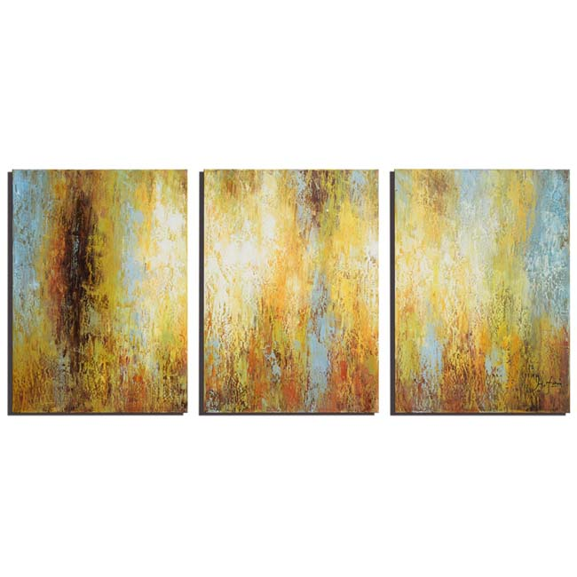 Cleanse the Mind' Hand-painted 3-piece Gallery-wrapped Canvas Art Set OF-683-CTM