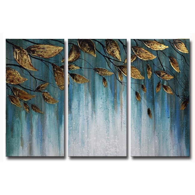 Hand-painted 'Golden Leaves' Gallery-wrapped 3-Piece Set Canvas Wall Art Set OF-685-GL
