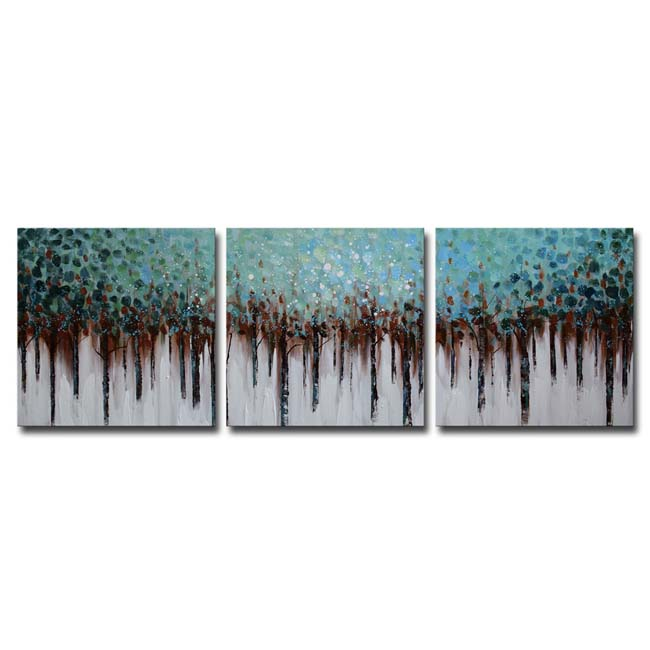 Blue Forest' 3-piece Hand-painted Gallery-wrapped Canvas Art Set OF-686-BF