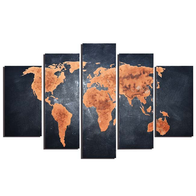 Classic World Map' 5-piece Hand-painted Gallery-wrapped Canvas Art Set OF-687-ENG