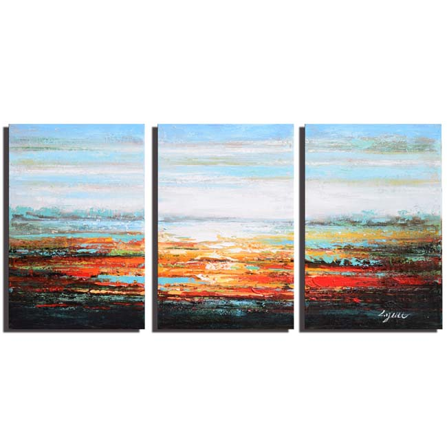 Hand-painted 'Under the Sky' 3-piece Gallery-wrapped Canvas Art Set OF-688-UTS