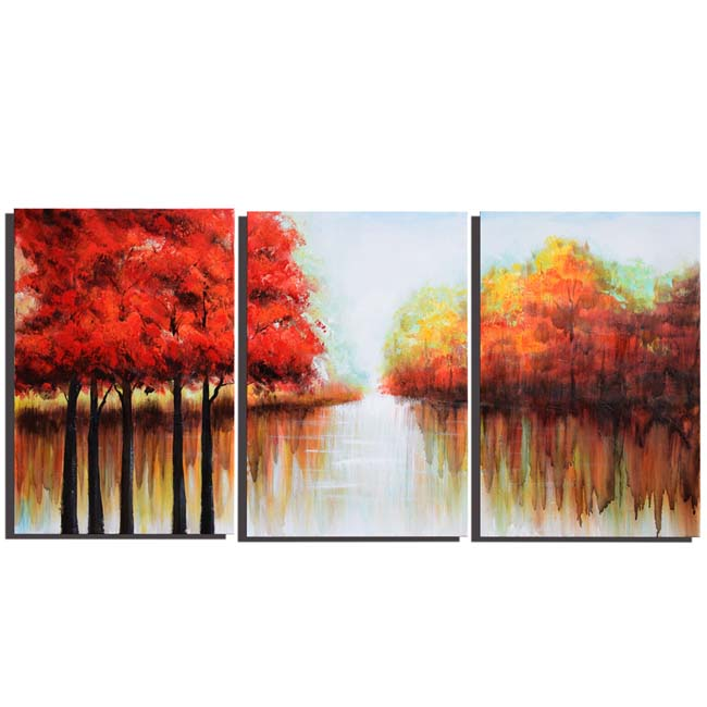 Red Forest' 3-panel Gallery-wrapped Canvas Art OF-689-RF