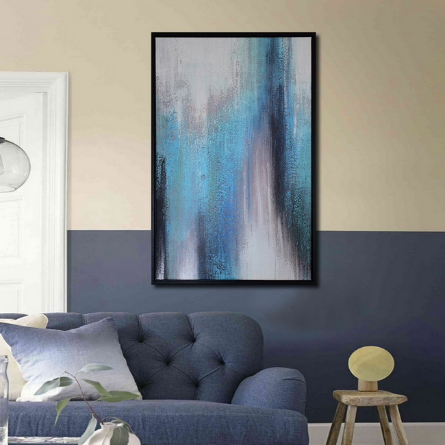 Framed prints with hand painted texture 'Abstract Blue Tone-1' Gallery-wrapped Canvas Art Set OF-690-ABK