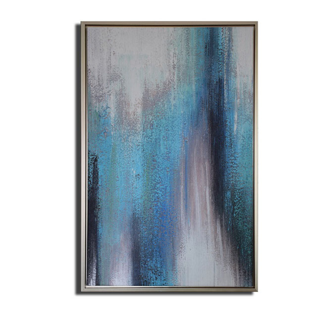 Framed prints with hand painted texture 'Abstract Blue Tone-2' Gallery-wrapped Canvas Art Set OF-691-SLV