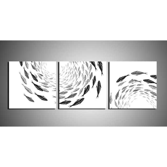 Fish School' 3-piece Gallery-wrapped Print on Canvas Art Set OF-697-YQY