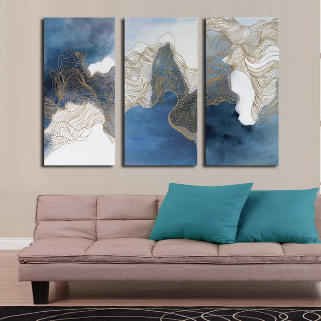 Blue Cloud' 3-piece Gallery-wrapped Print on Canvas Art Set OF-700-SY