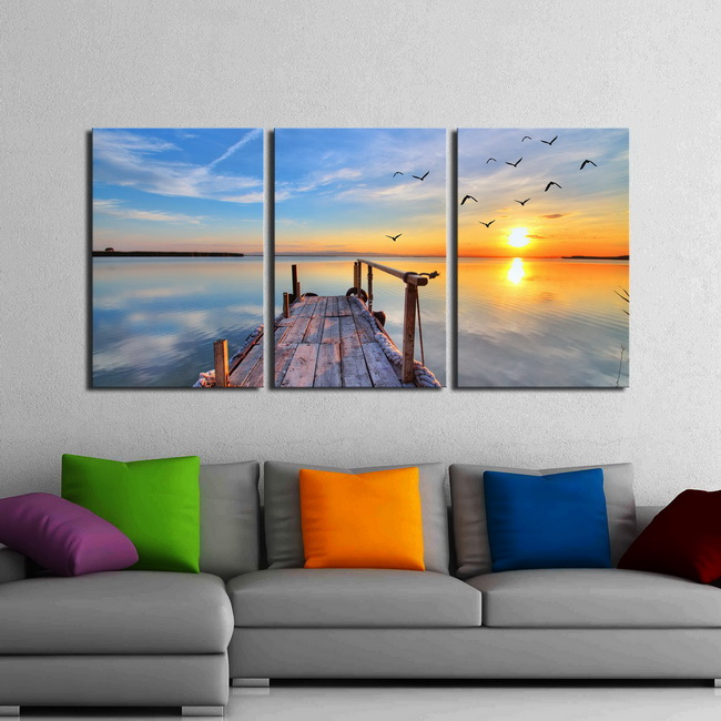 Bridge Under the Sun' 3-piece Gallery-wrapped Print on Canvas Art Set OF-704-KK