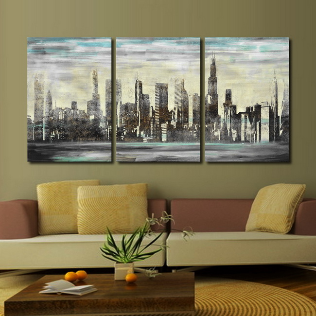 Prints with hand painted texture 'The City' 3-piece Gallery-wrapped Canvas Art Set OF-707-MYS