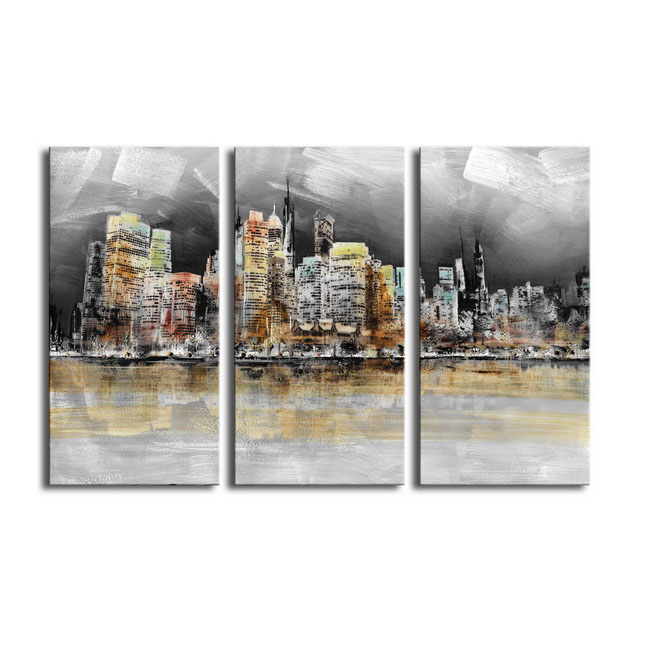 Prints with hand painted texture 'Imaginary City' 3-piece Gallery-wrapped Canvas Art Set OF-708-MLW