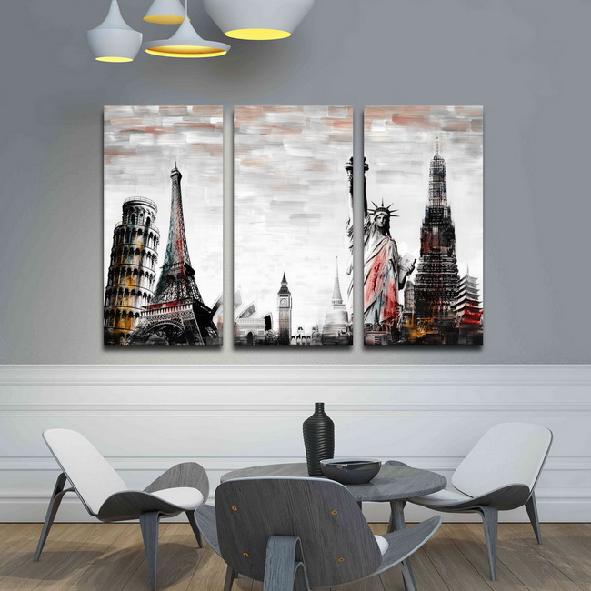 Prints with hand painted texture 'Stories around World' 3-piece Gallery-wrapped Canvas Art Set OF-709-MMS
