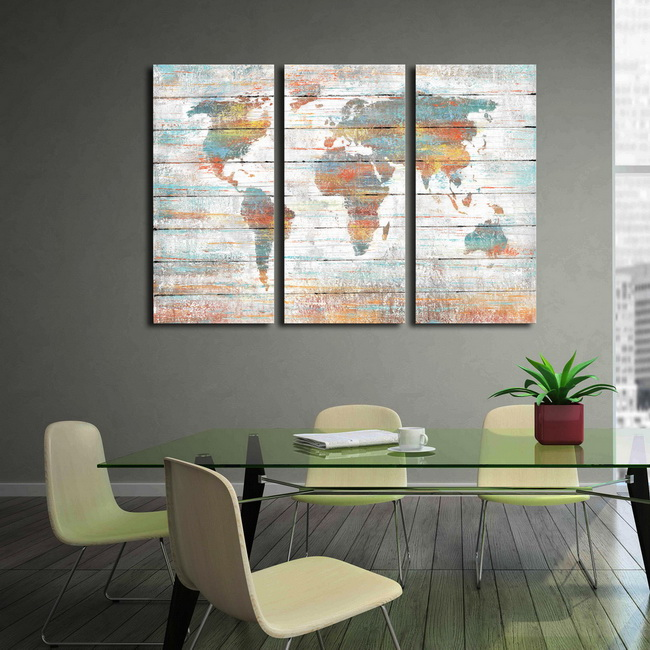 Prints with hand painted texture 'Colorful World Map' 3-piece Gallery-wrapped Canvas Art Set OF-710-MQS