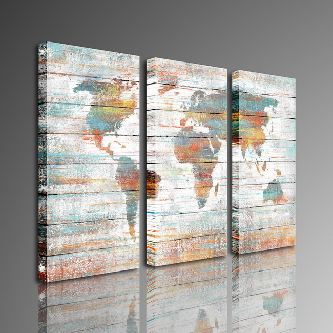 Prints with hand painted texture colorful world map 3 piece prints with hand painted texture colorful world map 3 piece gallery wrapped canvas art set of 710 mqs gumiabroncs Images