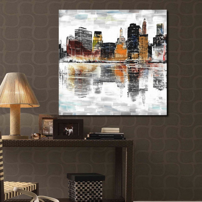 Prints with hand painted texture 'City with Colors' Gallery-wrapped Canvas Art Set OF-711-MUY