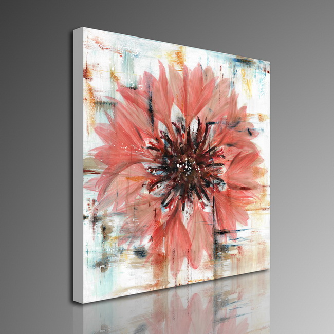 Prints with hand painted texture 'Flower In Water' Gallery-wrapped Canvas Art Set OF-713-MLT