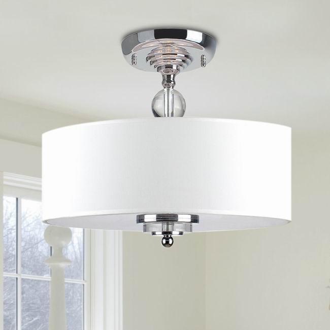 Off-White Shade Flushmount Ceiling Chandelier