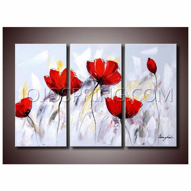 Red Flower 281' 3-piece Gallery-wrapped Canvas Art Set