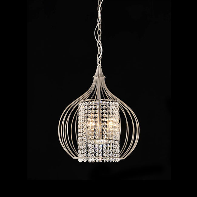 Satin Nickel and Crystal Pendant Chandelier
