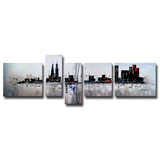 The City 5-piece Gallery-wrapped Hand Painted Canvas Art Set