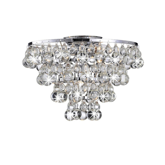 Tranquil Crystal Bubble and Chrome Flush-mount Chandelier - L869