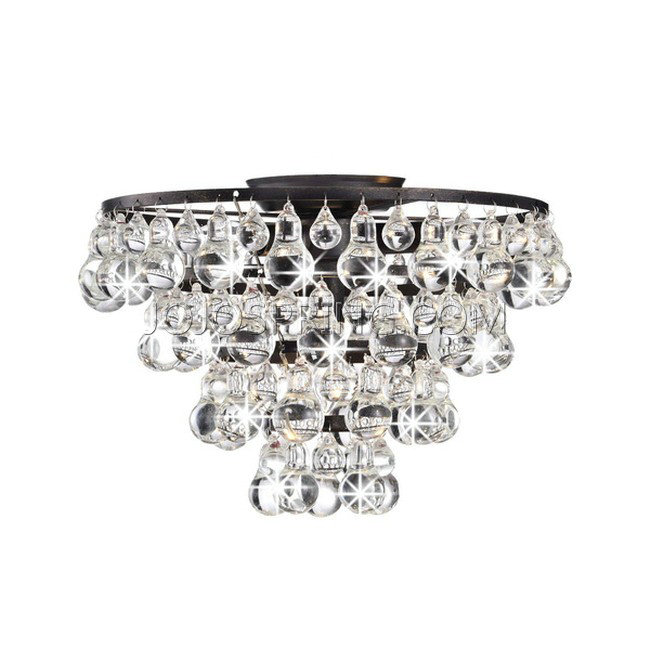 Tranquil Crystal and Bubble Flush-mount Chandelier - L871-HK-408