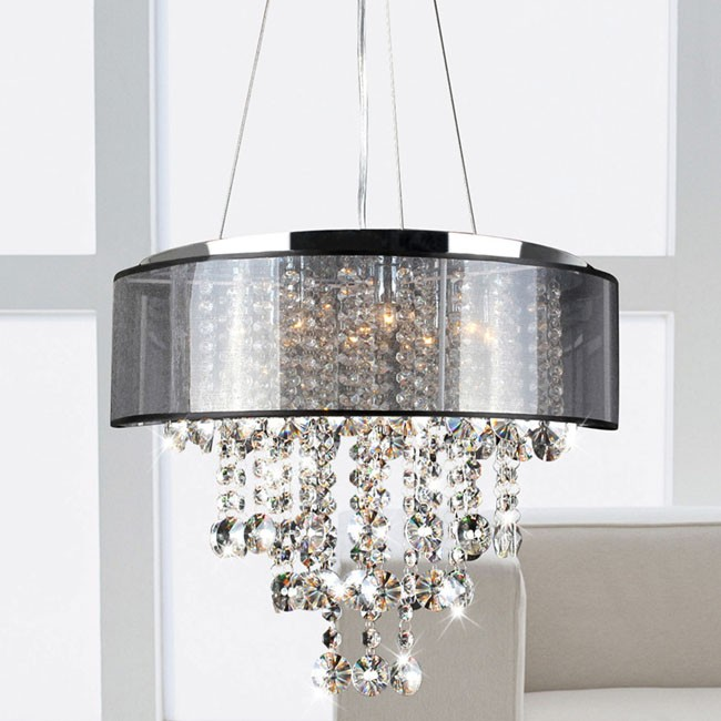 Visalia Chrome and Translucent Black Shade 9-light Crystal Chand
