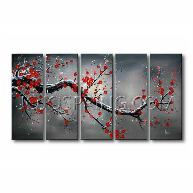 Winter Plum' 5-piece Oil Canvas Art Set