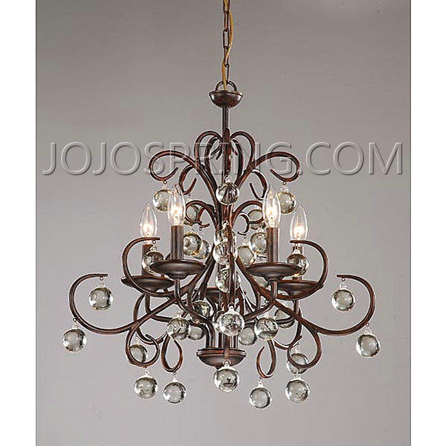 Wrought Iron and Crystal 5-light Chandelier - B204